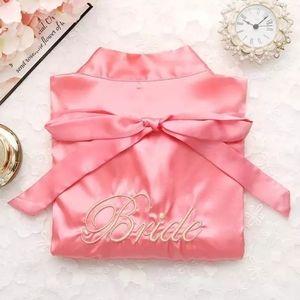 Bridal Pink Satin Kimono Robe